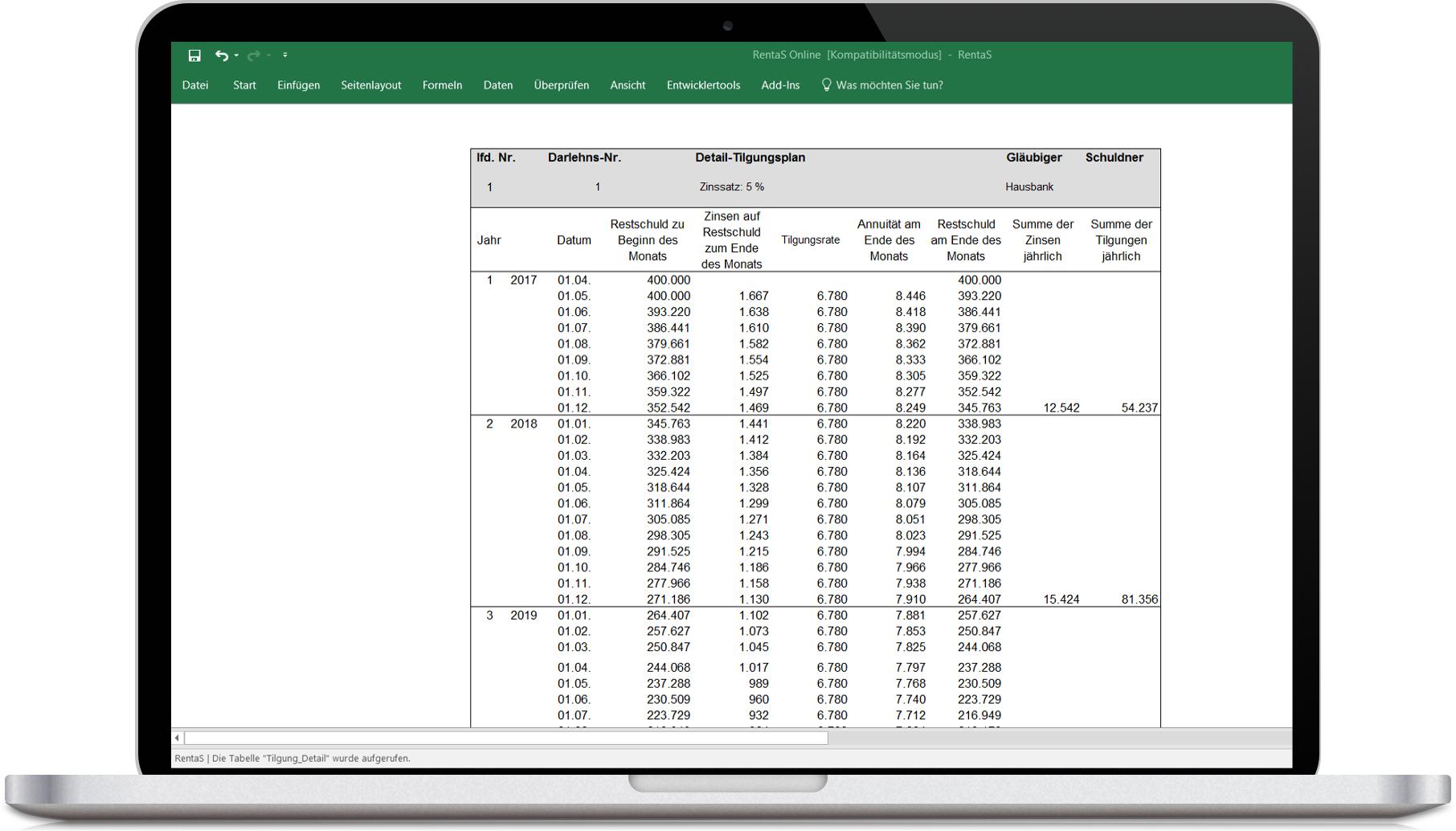 Rentas Controlling Software Darlehensrechner