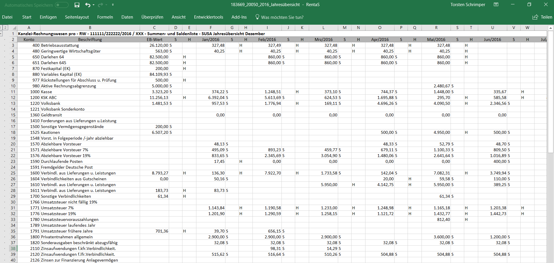 Datev_Saldenliste_Excel_Export_Rentas_Excel-Tabelle